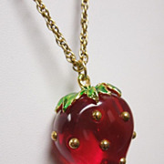 SALE Vintage Luscious Strawberry Lucite Necklace & Earrings, circa 1970s
