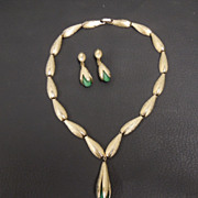 Vintage Trifari Brushed Golden Necklace & Earrings with Jade Glass Accents, circa 1960s