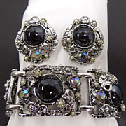 Vintage PAM Tribal Art Glass Rhinestone Bracelet & Earrings Set, circa 1950s