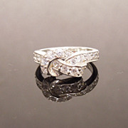 Sterling Silver and cz Love Knot Ring, Hallmarked DQ