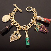 Wine Girl Hostess Enameled Charm Bracelet