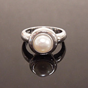 Cultured Pearl Solitaire Minimalist Sterling Silver Ring