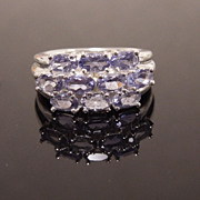 Faceted Amethyst Cluster Sterling Silver Ring