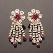 Red & White Crystal Rhinestone Dangle Earrings, circa 1980s