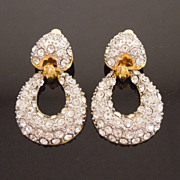 Pave Crystal Rhinestone Door Knocker Style Earrings, circa 1980s