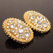 High Karat Gold Plated Pave Crystal Cluster Earrings