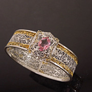 Antique Two Tone Filigree Bangle Bracelet with Pink Stone
