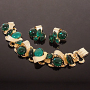 Vintage Emerald Green Cabochon Bracelet & Earrings Set, circa 1950s