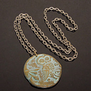 Vintage Oxidized Owl of Minerva Roman Soldier Token Necklace