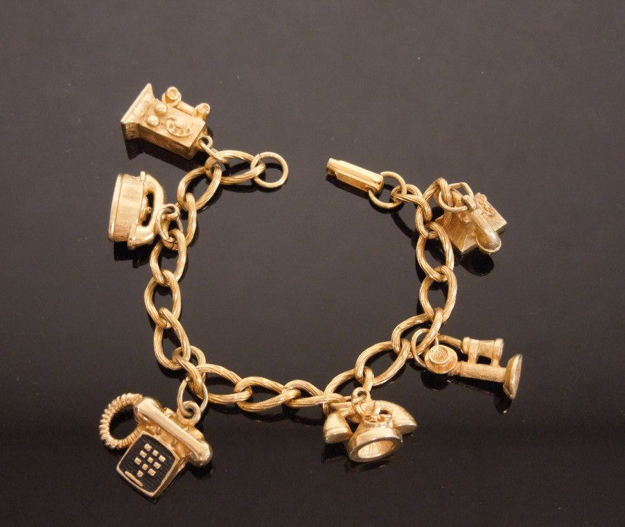 Vintage Golden Telephones Through the Years Telephone Charm Bracelet