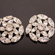 Large Vintage Weiss Rhinestone Earrings, circa 1950s