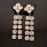 SALE Large Vintage White Crystal Rhinestone Pendant Earrings, circa 1950s