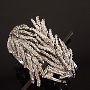 Vintage Rhodium Plated Aurelie Bidermann Style Wheat Clamper Bracelet, circa 1960s