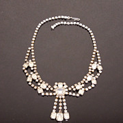 Vintage Clear White Rhinestone Festoon Princess Necklace, circa 1950s