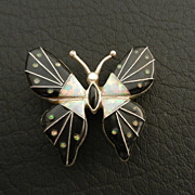 SALE Sterling Silver Fire Opal & Onyx Inlay Butterfly Brooch