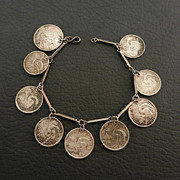 Singapore 5 Cents Brunei Egret Coin Silver Charm Bracelet