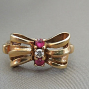 1940s Vintage Estate 10K Gold Diamond & Ruby Bow Tie Ring