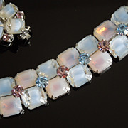 Vintage Kramer Lavender Ice Rhinestone Cocktail Bracelet & Earrings Set, circa 1960s