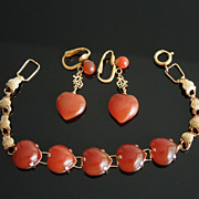 Vintage 12K Gold Filled Carnelian Heart Asian Theme Bracelet & Pendant Earrings