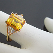 Emerald Cut Canary Crystal Cocktail Ring, size 6
