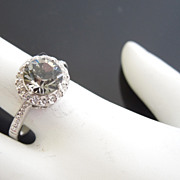 Smokey Quartz Color Diamante Crystal Ring, size 7 1/2