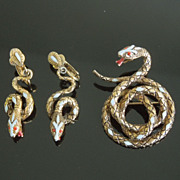 Vintage Coiled Snake Brooch & Earrings by ART, circa 1960s