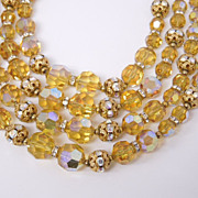 SALE Gorgeous Canary Yellow Crystal Bead 4-Strand Necklace, circa 1950s