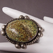 SALE Huge Vintage Sterling Silver Native American Turquoise Gents or Ladies Ring, size 13 1/2