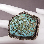 SALE Huge Vintage Sterling Silver Native American Turquoise Gents or Ladies Ring, size 10