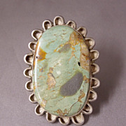 "SALE Huge Runway Vintage 2"" Native American Turquoise Gents or Ladies Ring,circa 1960s"