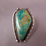 "SALE Huge Vintage Sterling Silver 2"" Native American Turquoise Gents Ladies Ring, size 12"