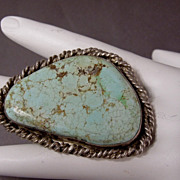 SALE Huge Vintage Sterling Silver Native American Turquoise Gents Ladies Ring,