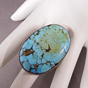 SALE Huge Vintage Sterling Silver Native American Turquoise Gents Ladies Ring