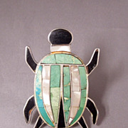 "SALE Huge Vintage Native American Zuni 2"" Insect Onyx Turquoise Inlay Ring, size 14 1/4"