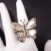 Ladies Sterling Silver Abalone Butterfly Ring, size 7 1/4