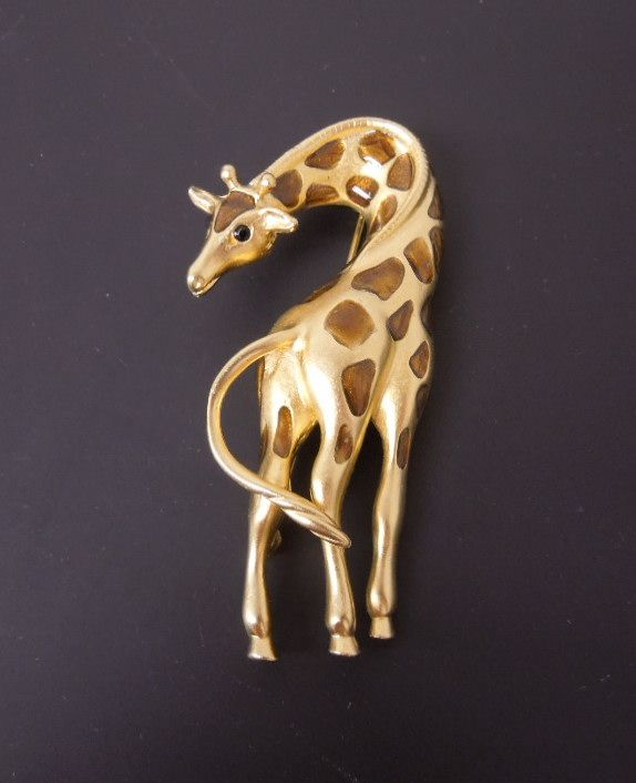 Whimsical Golden Giraffe Brooch with Enameled Spots