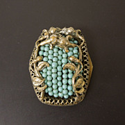SALE Art Nouveau Flower Turquoise Color Glass Bead Dress Clip
