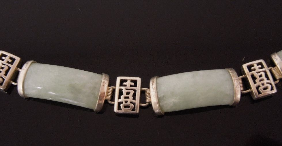 Sterling Silver & Jade Asian Link Bracelet
