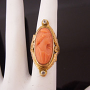 SALE Victorian 10K Coral 'Georgian Lady' Cameo Ring with Mine Cut Diamonds