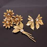 SALE Early Miriam Haskell Flower Rhinestone Brooch & Earrings Set