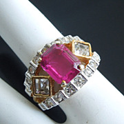 Fuchsia Pink Diamante Crystal Ring, size 6
