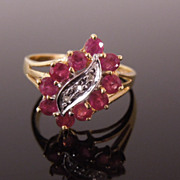 Estate 14K Gold Diamond & Ruby Dinner Ring, size 7