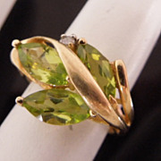 Estate 14K Gold Triple Peridot Marquise & Diamond Ring, sz 3