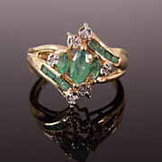 Estate 14K Gold Emerald & Diamond Dinner Ring, sz 6 1/4