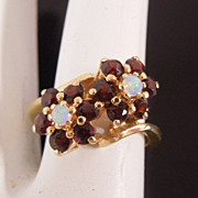Estate 14K Gold Fire Opal & Garnet Flower Ring, size 6 1/2