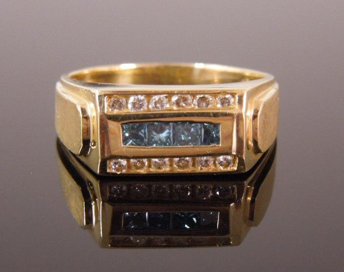 Estate 14K Mens Blue Topaz & Diamond Ring, size 9