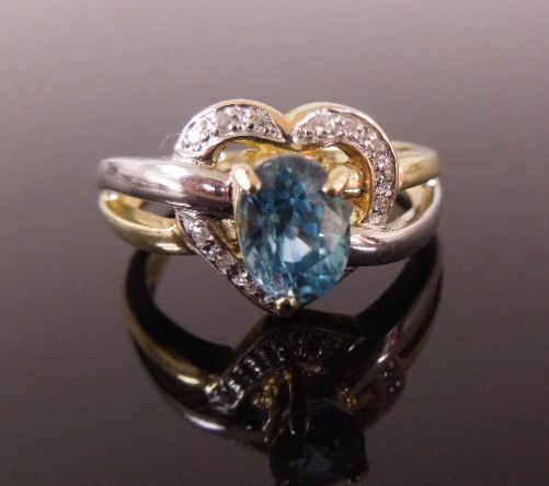 Estate 14K Blue Topaz & Diamond Heart Shaped Ring, size 7