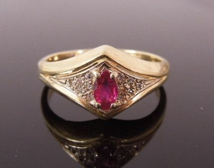 Estate 14K Ruby Marquise Diamond Ring, size 7 3/4