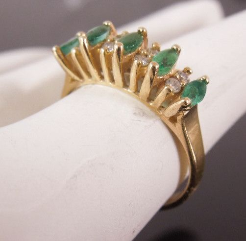 Estate 14K Emerald Marquise  Diamond Ring, size 6