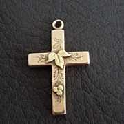 SALE Antique 10K Rose Gold Victorian Cross Pendant with Leaves